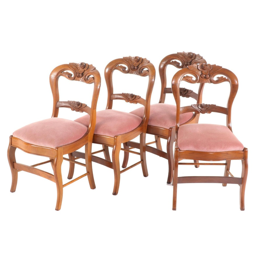 Victorian Carved Walnut Upholstered Side Chairs, Late 19th Century
