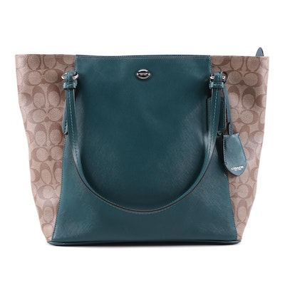 Coach Peyton Tote in Signature Coated Canvas and Racing Green Saffiano Leather