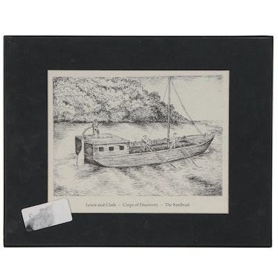 "Etching of Lewis and Clark's Keelboat ""Corps of Discovery"""