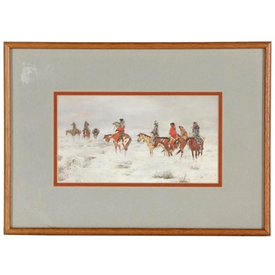 Offset Lithograph of Native American Horseback Riding
