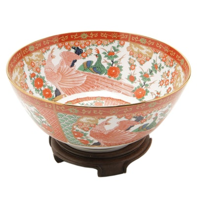 Japanese Arita China Peacock Bowl on Rosewood Stand
