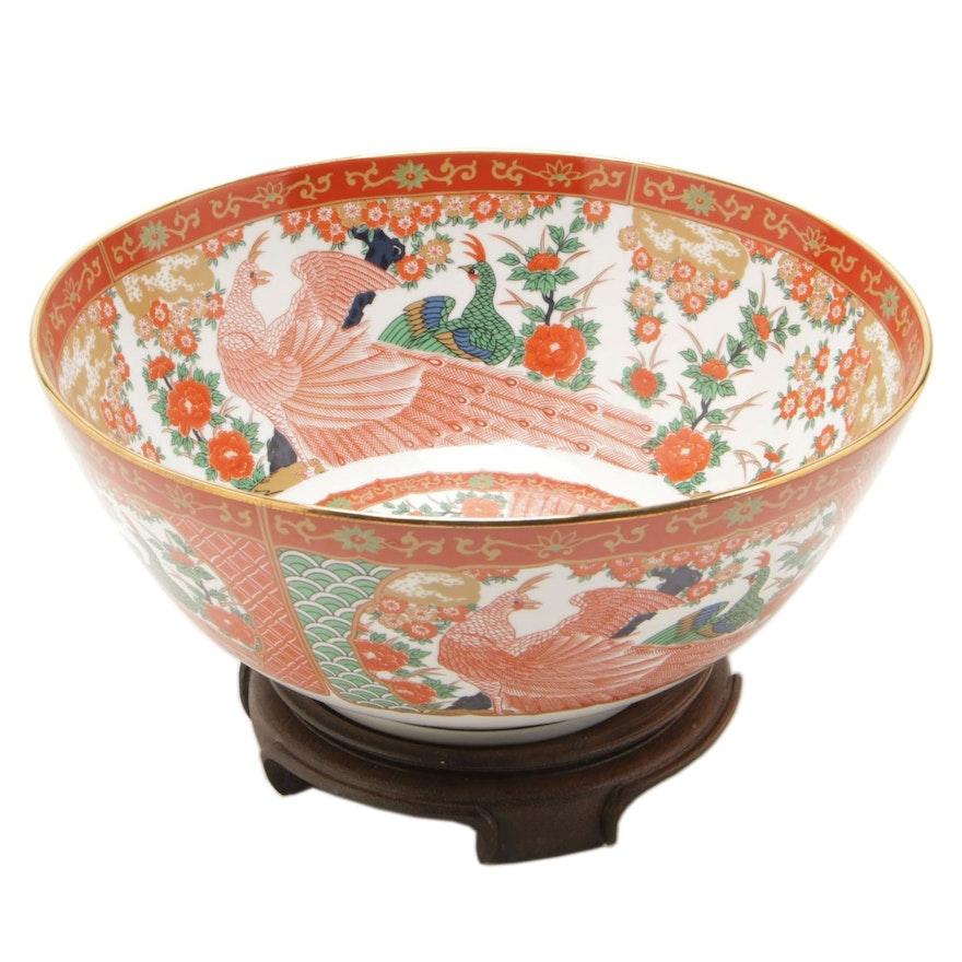 Japanese Arita China Peacock Bowl on Rosewood Stand
