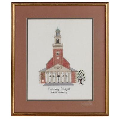 Cross-Stitch Panel of Swasey Chapel at Denison University