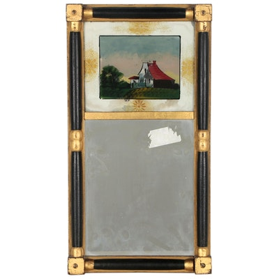 Trumeau Mirror with Reverse Painted Scene of Farmhouse