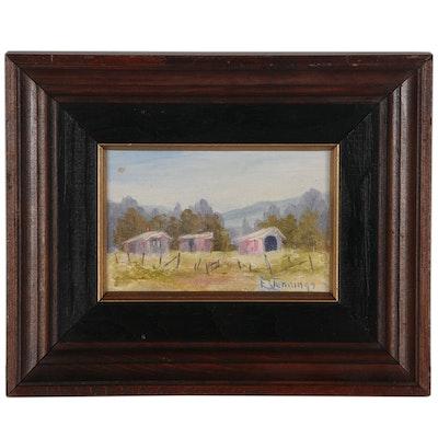 E. Jennings Barn Landscape Oil Painting