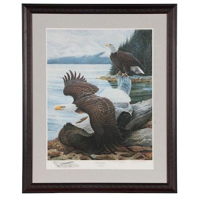 """John Ruthven Offset Lithograph """"Bald Eagles at Misty Fjords"""" 1990"""