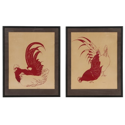 Red Chicken and Rooster Prints