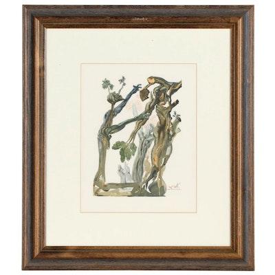 """Salvador Dalí Wood Engraving """"Le forêt des suicidé"""""""