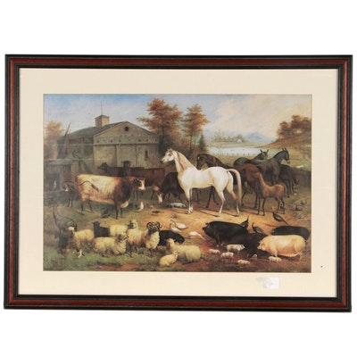 "Charles Themmen Offset Lithograph ""Barnyard Scene"""
