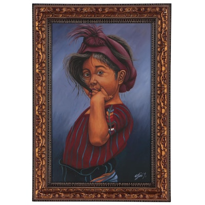 Acrylic Painting of a Young Girl Wearing a Headscarf