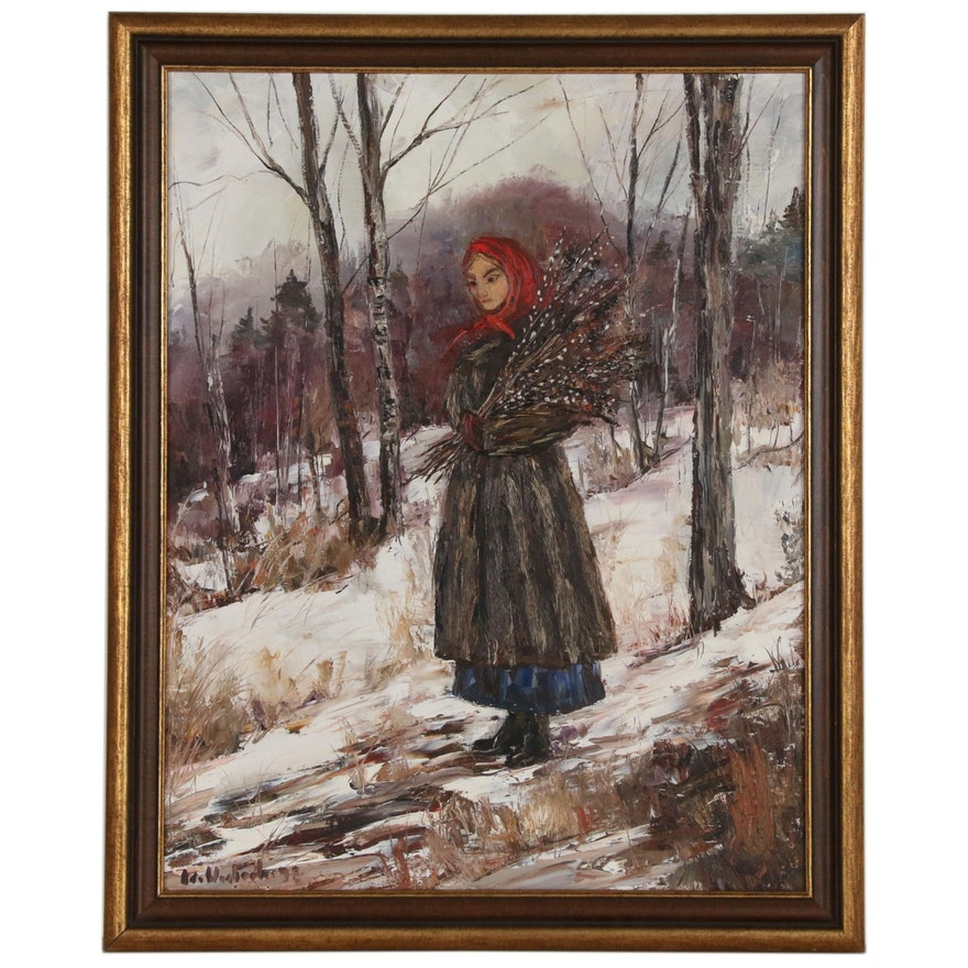 Oil Painting of Woman with Quills