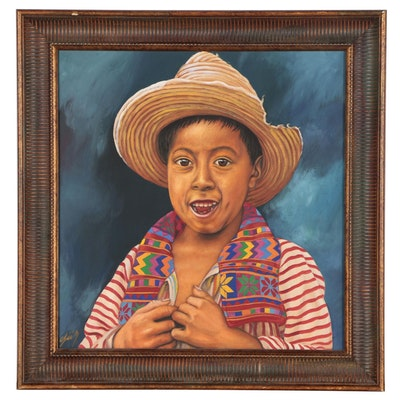 Acrylic painting of a Young Boy in a Sunhat