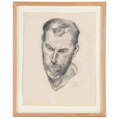 Ruth Light Braun Charcoal Drawing of a Man with an Earring, 20th Century