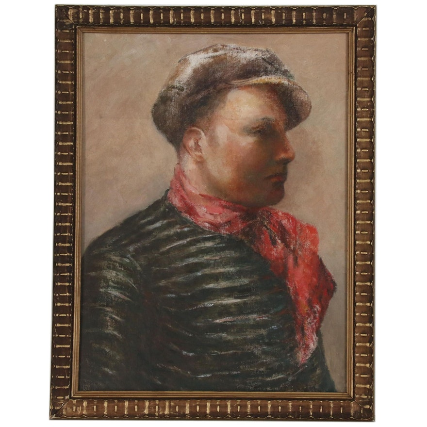 Oil Painting of a Young Man in a Red Scarf