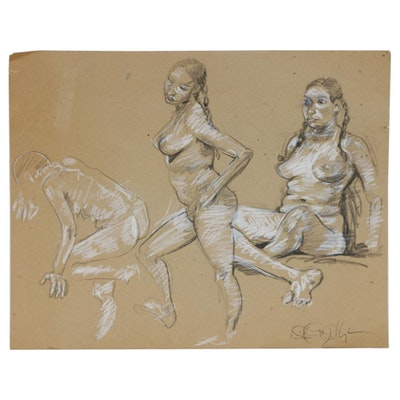 William McCullough Nude Female Figure Double-Sided Mixed Media Studies, 2004