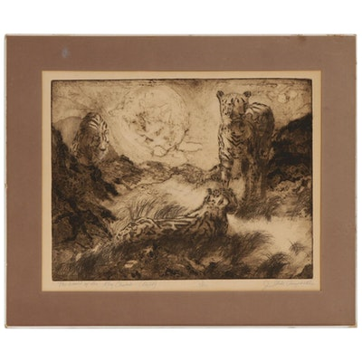 "Judith Strite Campbell Etching ""The World of the King Cheetah (Night)"""