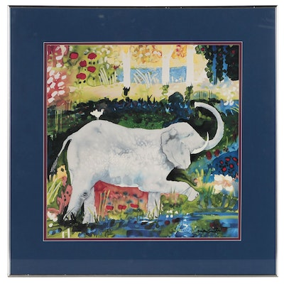 "Offset Lithograph after Mike Smith ""Elephant and Bird"""