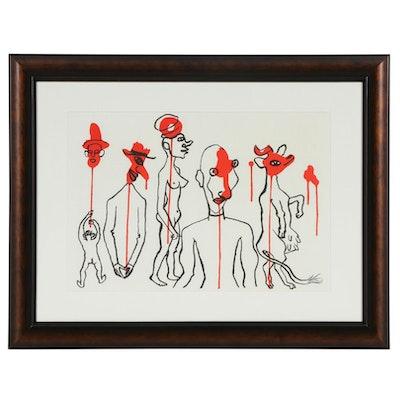 """Alexander Calder Double-Page Color Lithograph for """"Derrière le Miroir"""", 1966"""