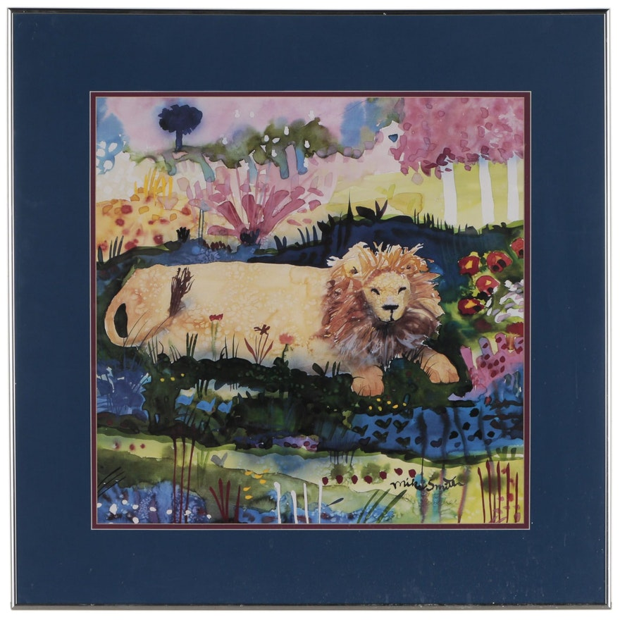 """Offset Lithograph after Mike Smith """"Lion in the Blue Tree"""""""
