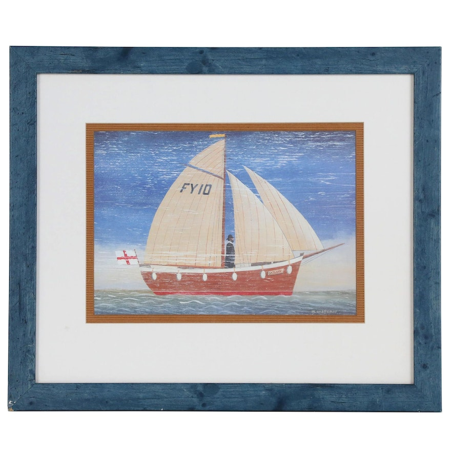 Nautical Offset Lithograph after Martin Wiscombe