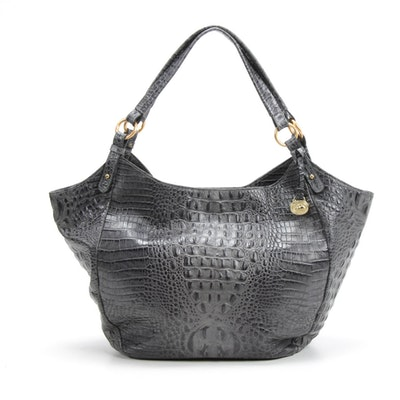 Brahmin Croc-Embossed Melbourne Slate Leather Jacqueline Hobo Tote