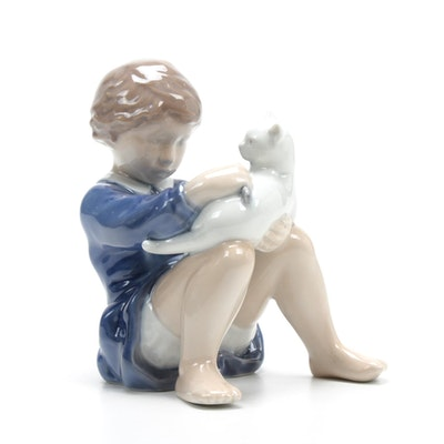 "Royal Copenhagen ""Girl with Cat"" Porcelain Figurine"