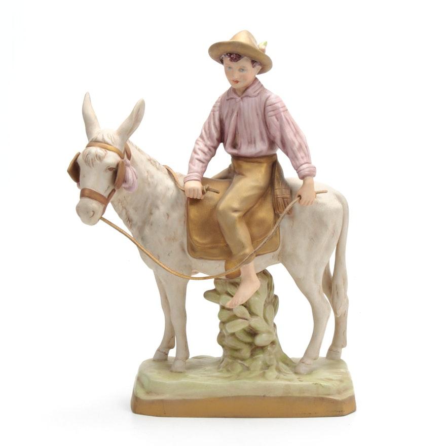Royal Dux Czechoslovakian Bisque Porcelain Figurine, Vintage