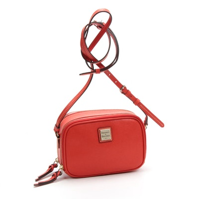 Dooney & Bourke Orange Cross Grain Leather Double-Zip Crossbody Bag