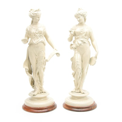 Neoclassical Metal Musician Ladies Sculptures