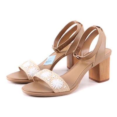 Jack Rogers Bettina Ankle Strap Block Heeled Sandals with Embroidered Rondelles