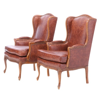 Pair of French Provincial Style Faux-Leather Bergères à Orielles