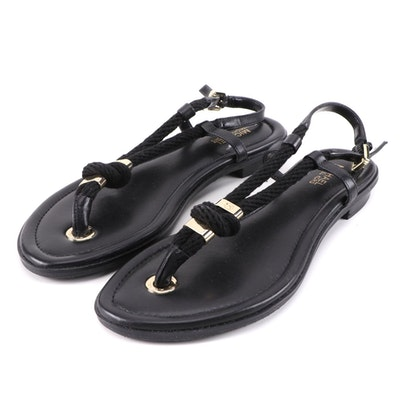 MICHAEL Michael Kors Holly Knotted Rope and Black Leather Thong Sandals