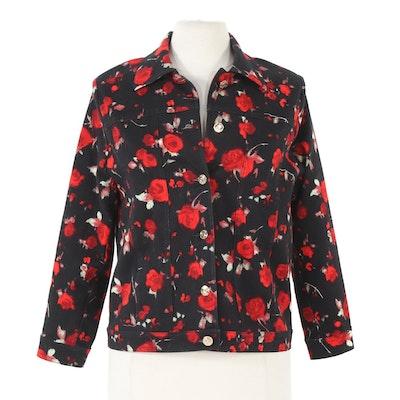 St. John Sport Red Rose Black Denim Jacket