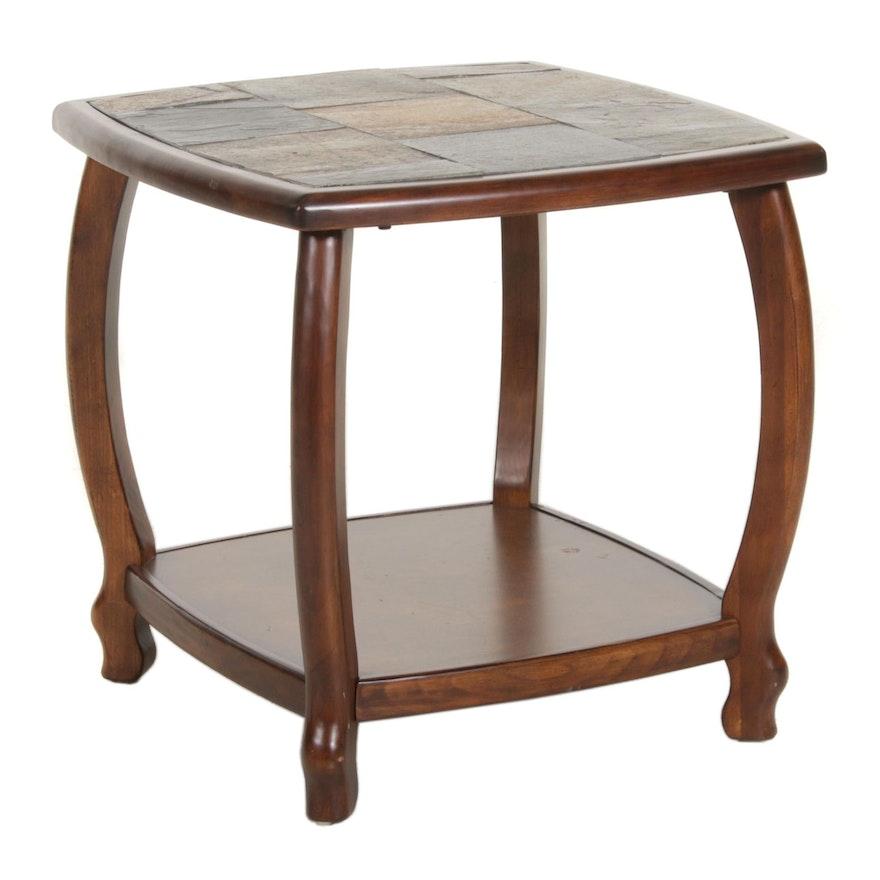 Tudor Style Faux Slate Top End Table