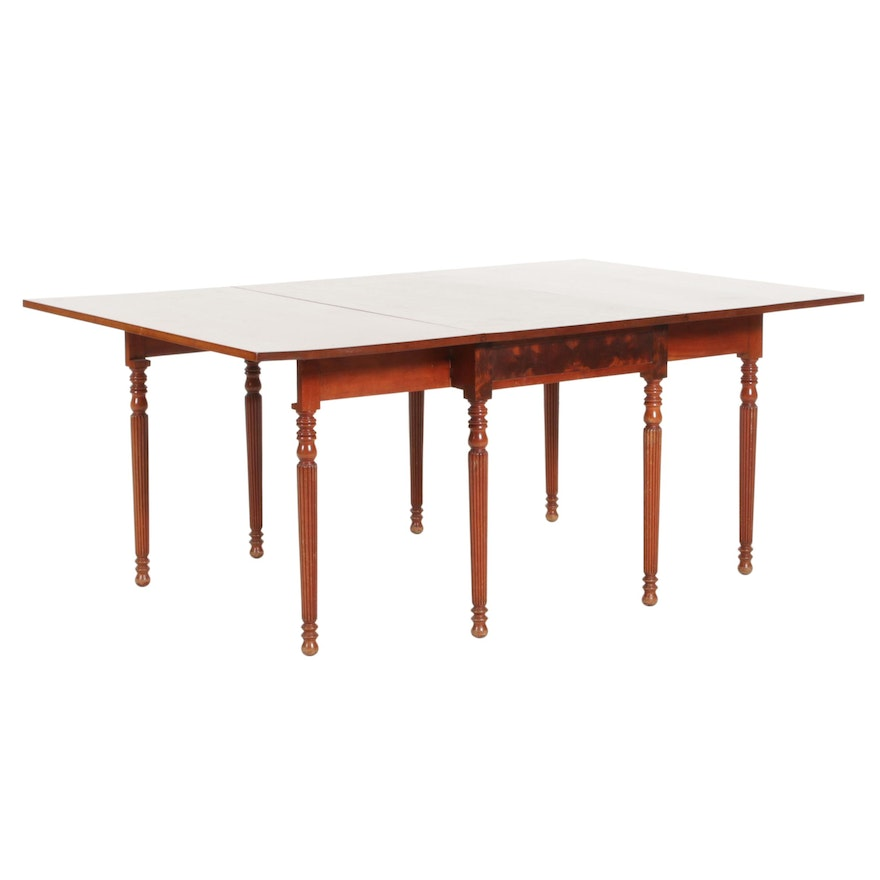 Karl Hausladen Federal Style Cherrywood and Mahogany Drop-Leaf Dining Table
