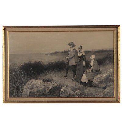 Engraving of Three Pilgrims Looking Across the Bay, Late 19th Early 20th Century