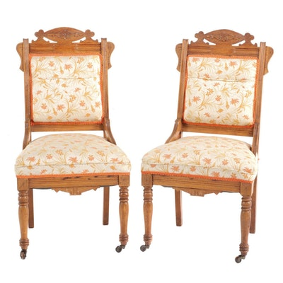 Victorian Oak Upholstered Parlor Chairs, Late 19th Century