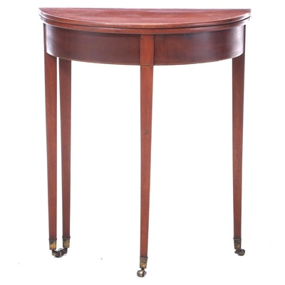 George III String-Inlaid Mahogany Foldover Side Table, Early 19th Century