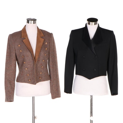 Saks Fifth Avenue Cropped Wool Jackets Including Harvé Bernard, 1980s Vintage