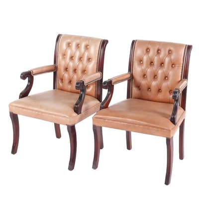 Pair of Regency Style Tacked and Button-Tufted Leather Armchairs