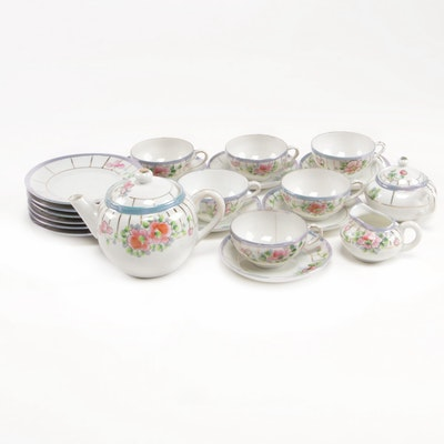 Japanese Lusterware Child's Floral Motif Porcelain Tea Set