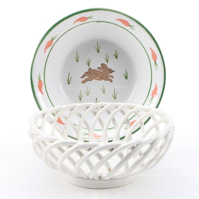 Openwork Ceramic Fruit Basket and Rabbit Themed Centerpiece