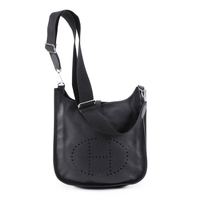 Hermès Evelyne III PM Bag in Black Clemence Leather