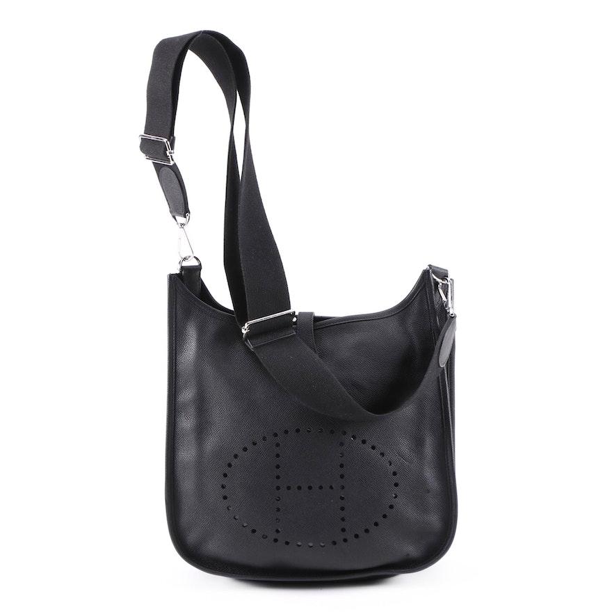 Hermès Evelyne III PM Bag in Black Clemence Leather