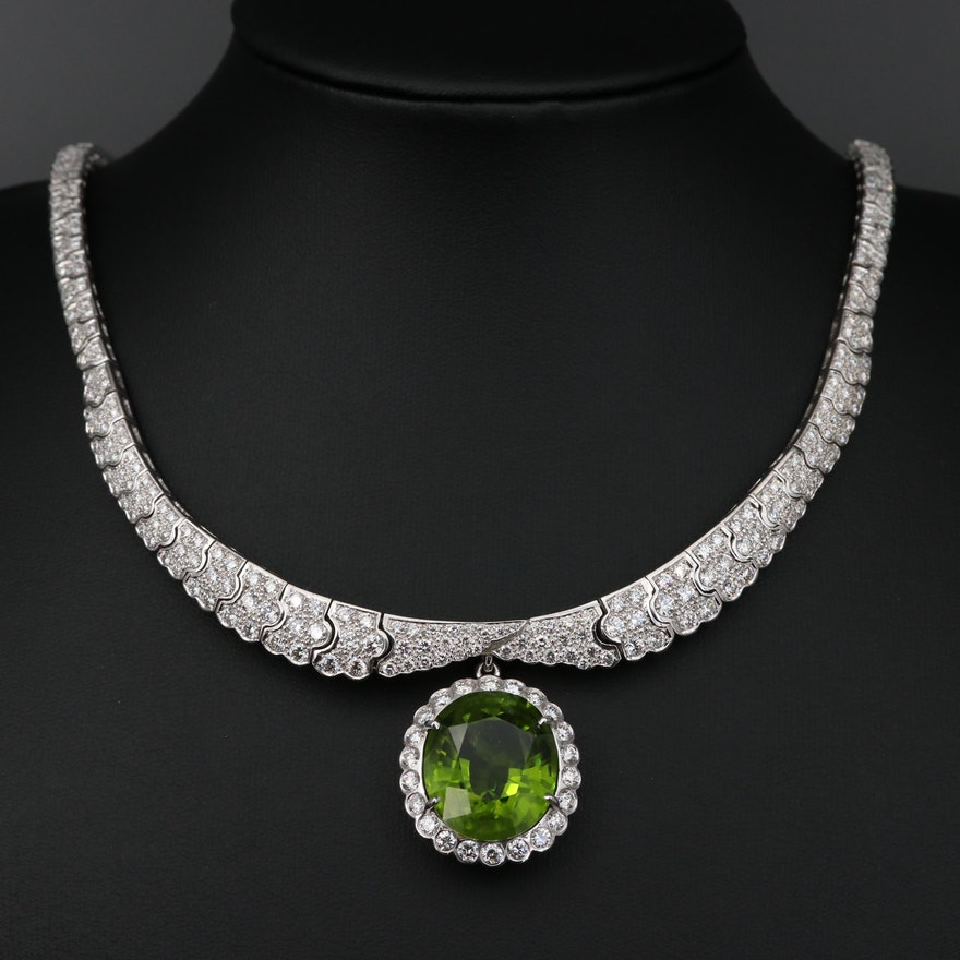 18K Gold 30.17 CT Peridot and 10.50 CTW Diamond Necklace