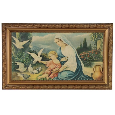 """Screenless Offset Lithograph """"Madonna with Doves"""", Early- Mid 20th Century"""