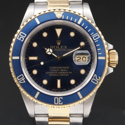 Rolex Submariner 16803 18K Gold and Stainless Steel Automatic Wristwatch