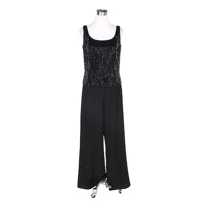 Bob Mackie Boutique Beaded Top with Sandra Darren Embellished Wide Leg Pants