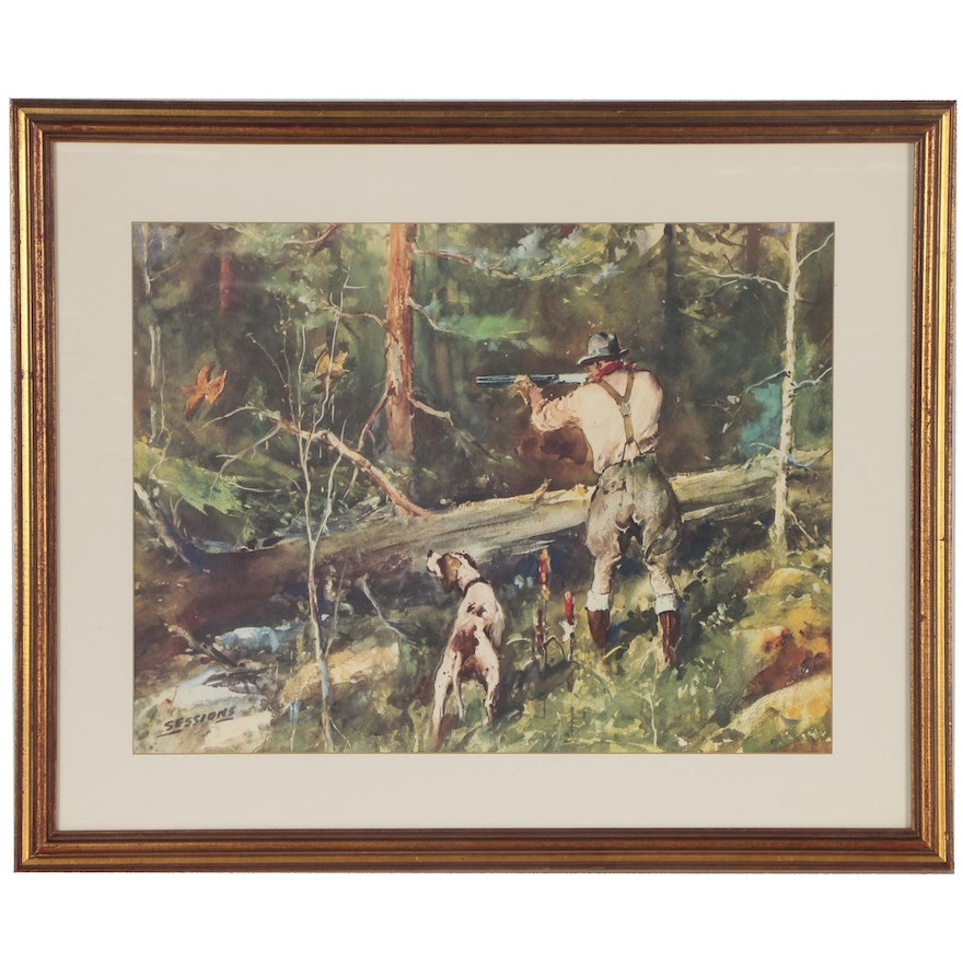 """Offset Lithograph after James Milton Sessions """"Grouse Shooting"""""""