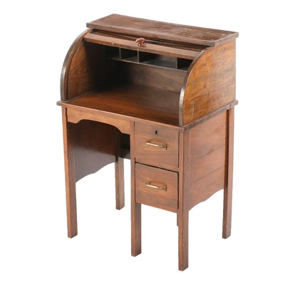 Pine Roll Top Child's Desk, Early 20th Century